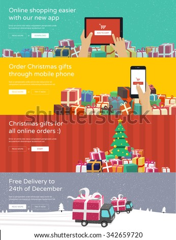Online shopping banners for website - hands holding tablet / phone ordering christmas gifts. Flat design illustration. - stock vector