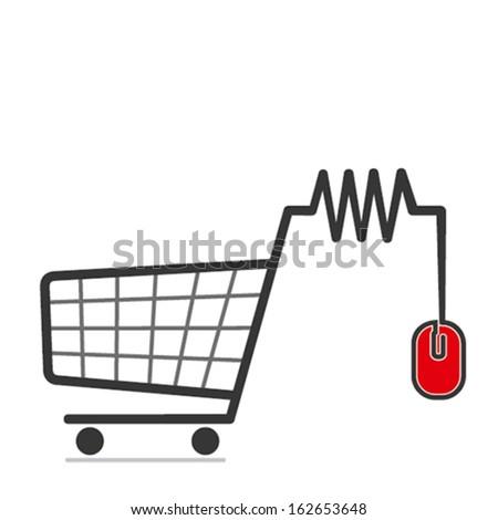 online shopping cart concept icon vector - stock vector
