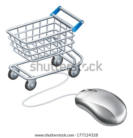 Online shopping cart mouse concept, a mouse connected to a shopping trolley, concept for online shopping - stock vector