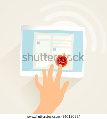 Online shopping, computer and human hand. wireless network.  - stock vector