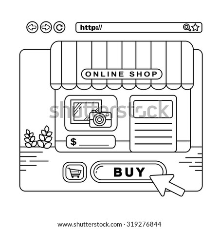 online shopping concept: a virtual store on web page in line style