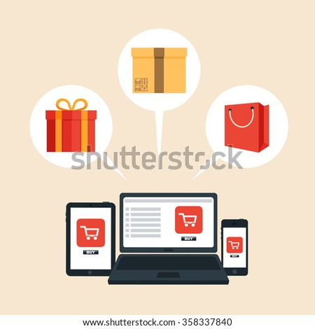 Online Shopping Concept. Colorful Vector Illustration - stock vector