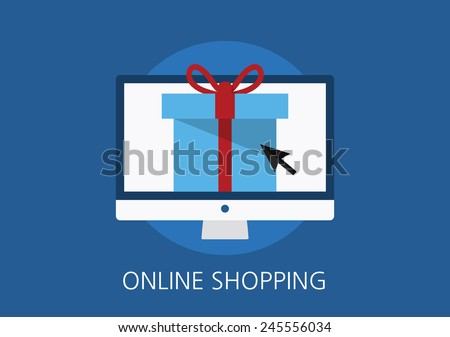 online shopping concept flat icon - stock vector