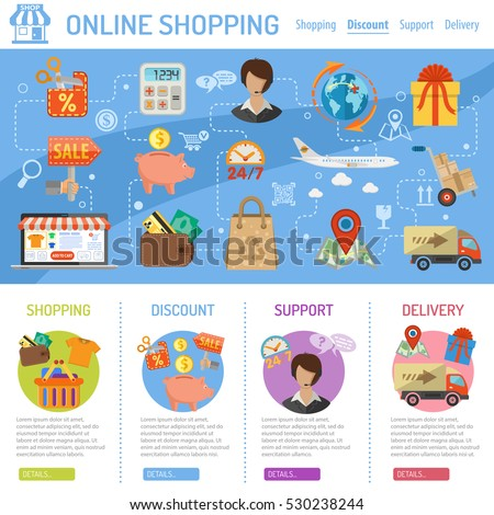Online Shopping Concept infographics with flat Icons sales, delivery, laptop, piggy bank. vector illustration