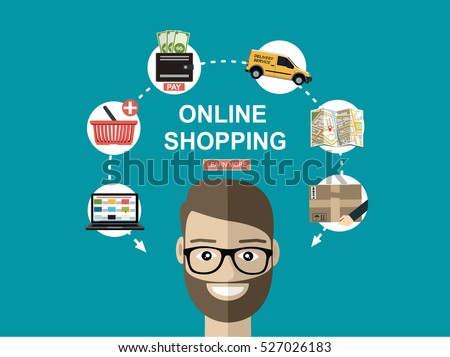 Online shopping concept. Set icons. Flat vector illustration