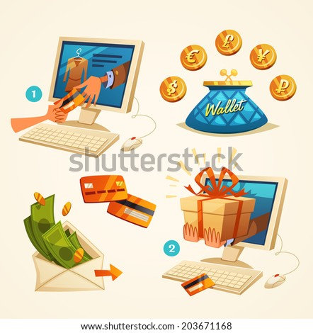 Online shopping concept. Vector illustration. - stock vector