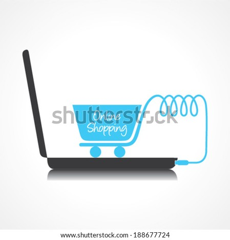 Online shopping Concept with shopping cart and laptop stock vector - stock vector