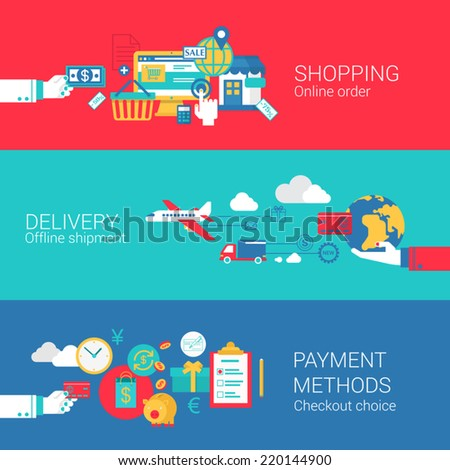 Online shopping delivery payment concept flat icons set of order shipment checkout process and vector web banners illustration print materials website click infographics elements collection - stock vector