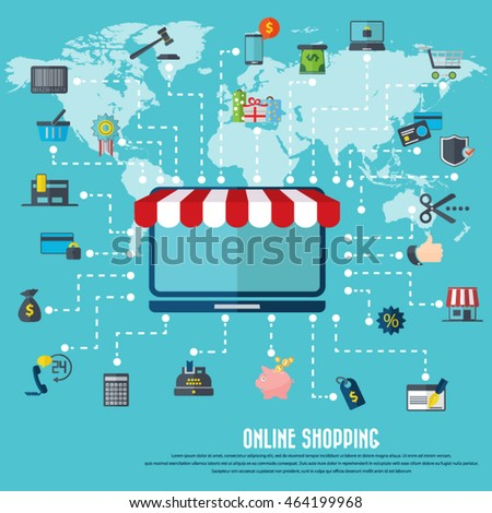 Online shopping desktop awning various icon vectores en stock online shopping desktop icon with awning various shopping icon set and detailed world map gumiabroncs Gallery