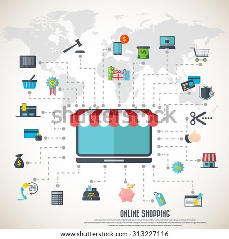 Online shopping desktop awning various icon vectores en stock online shopping desktop with awning various icon set and detailed world map eps10 gumiabroncs Gallery
