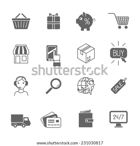 Online shopping e-commerce advertising commercial services black icons set isolated vector illustration