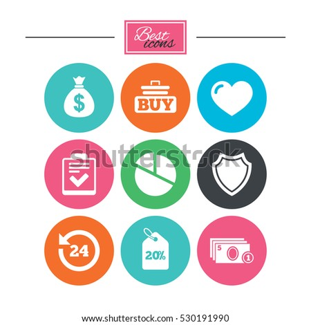Online shopping, e-commerce and business icons. Checklist, like and pie chart signs. Money bag, discount and protection symbols. Colorful flat buttons with icons. Vector