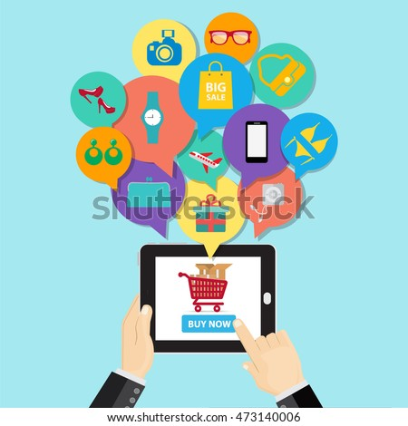online shopping ecommerce concept business button stock vector 473140006 shutterstock. Black Bedroom Furniture Sets. Home Design Ideas