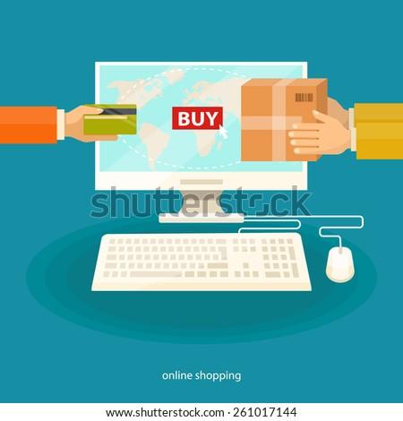 Online shopping , e-commerce concept. Vector flat  illustration. - stock vector
