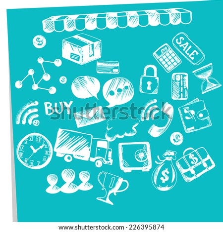 Online shopping, e-commerce, delivery, payments symbols add to bag, payment methods, savings. Internet shopping concept smartphone with awning of buying products via on line shop store ecommerce ideas - stock vector