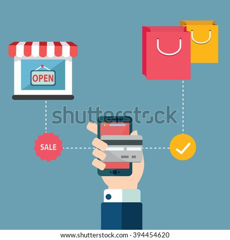 Online shopping e-commerce mobile payment Successful business concept - stock vector