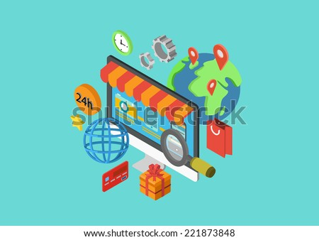 Online shopping flat 3d isometric modern design concept order checkout payment delivery shipping worlwide vector web banners illustration print materials website click infographics elements collection - stock vector