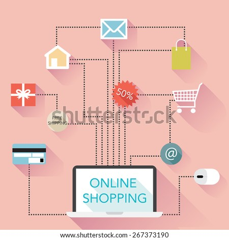 Online Shopping Flat Design Infographic - vector eps10 - stock vector
