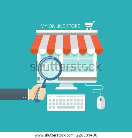 Online shopping flat illustration. Eps10 - stock vector