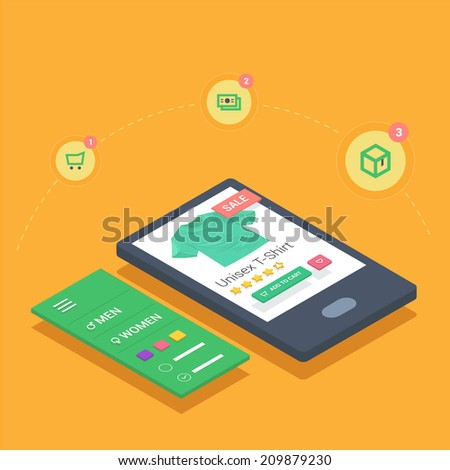 Online shopping  in mobile store. Using smart phone application for browsing ecommerce website.