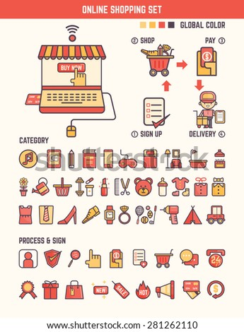 online shopping infographic elements for kid including categories and marketing tools - stock vector