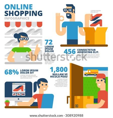 Online Shopping Infographics - stock vector