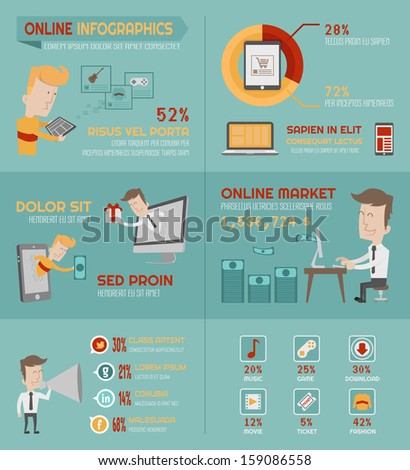 Online shopping infographics elements , eps10 vector format - stock vector