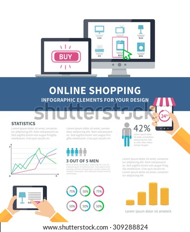 Online Shopping process infographic with internet shop on the sreen of computer, smartphone, laptop and tablet. Flat design infographic with diagrams and charts and space for text - stock vector