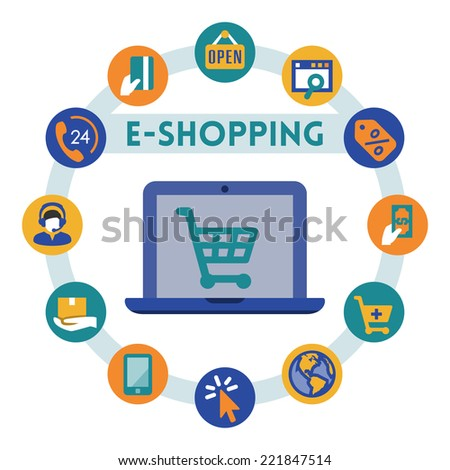Online shopping related vector infographic, flat style - stock vector