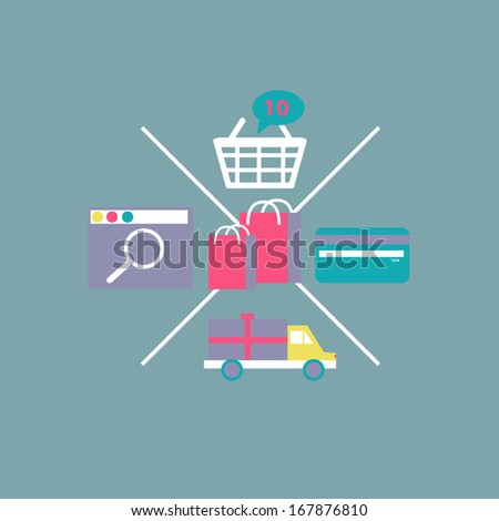 Online Shopping set concept e-commerce technology flat design with Computer Screen in vector - stock vector