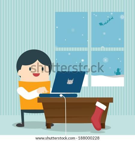 Online shopping. Vector illustration - stock vector