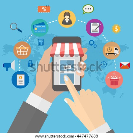 Online shopping with man holding smartphone and e-commerce icons on global map background
