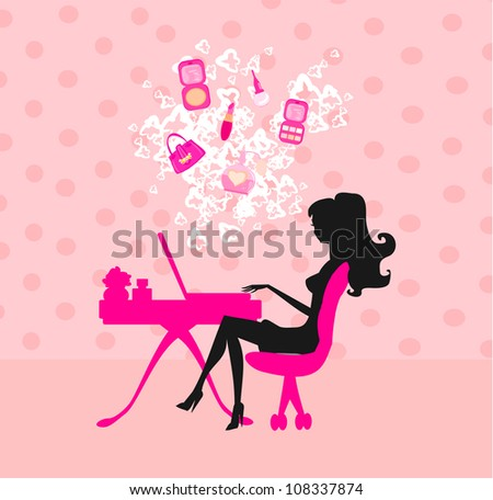 Online shopping - young smiling woman sitting with laptop comput - stock vector