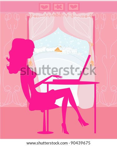 Online shopping - young smiling woman sitting with laptop compute - stock vector