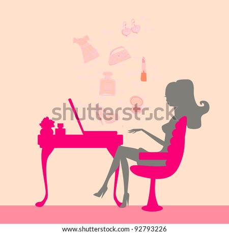 Online shopping - young woman sitting with laptop compute - stock vector