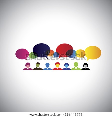 online social network of people talking, chatting - concept vector. This graphic illustration can also represent executives & employees meeting, online chat, interaction & communication