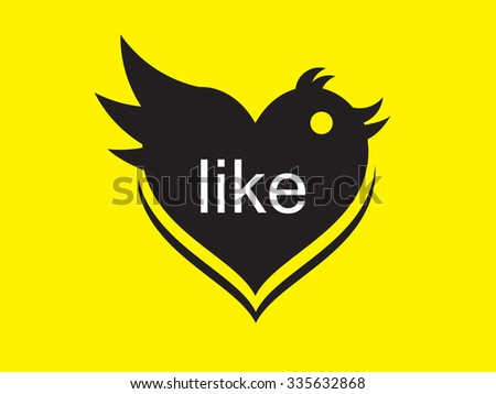 online social networking like button and blue bird - stock vector