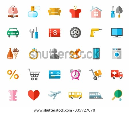 Online store, color pictures, icons. Color images of categories of goods online store. Icons, vector clip art.