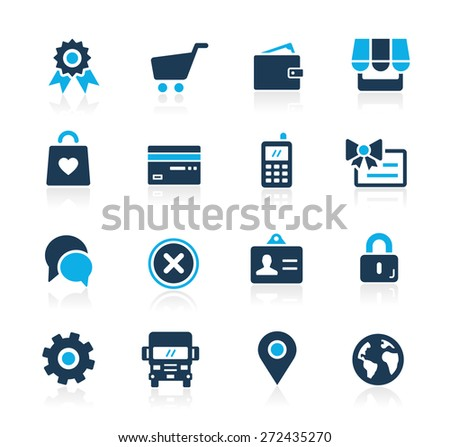 Online Store Icons // Azure Series - stock vector