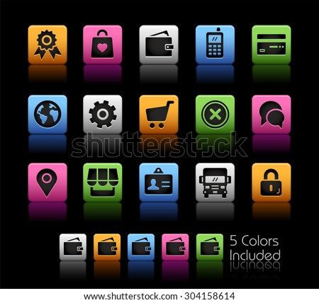 Online Store Icons // ColorBox Series ---- The Vector file includes 5 color versions for each icon in different layers -- - stock vector