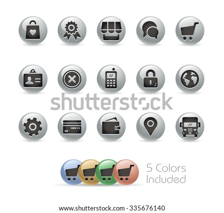 Online Store Icons // Metal Round Series -- The vector file includes 5 color versions for each icon in different layers. - stock vector