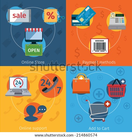 Online store shopping e-commerce payment methods flat set isolated vector illustration - stock vector