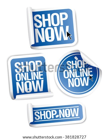 Online store stickers set Shop now.