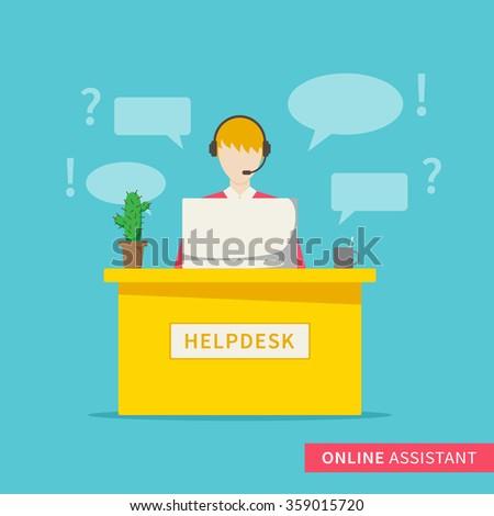 Online support service centre. Customer helpdesk assistance. Online operator (assistant). Vector design concept illustration. - stock vector