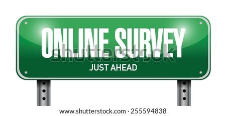 online survey road sign illustration design over a white background - stock vector
