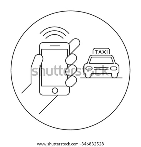Online Taxi Transportation Flat Vector Icon - stock vector