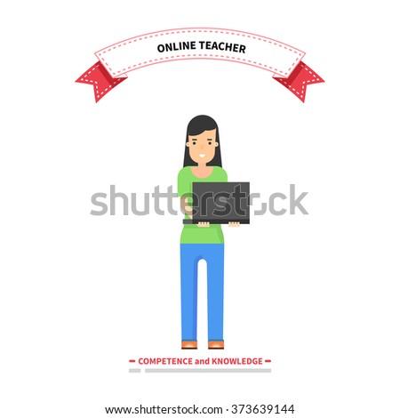 Online teacher competence and knowledge. Teacher education, school teaching online, professor study internet, study web, course training online, technology online, professional teacher illustration - stock vector