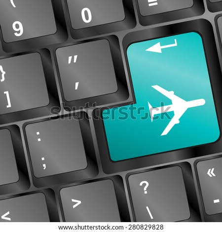 Online tickets key on the keyboard with airplane vector - stock vector