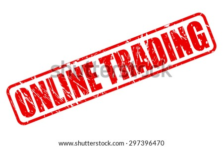 ONLINE TRADING red stamp text on white - stock vector