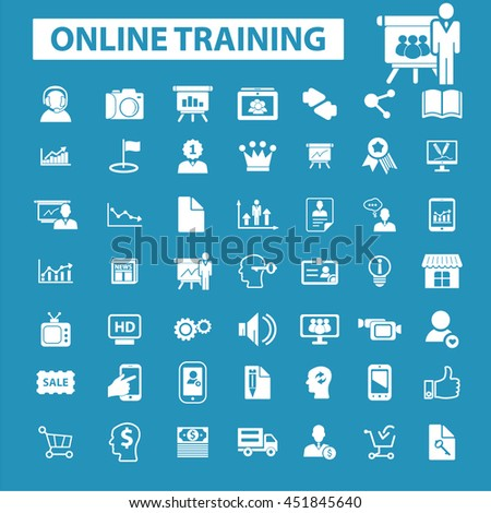 online training icons - stock vector